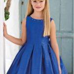 10 Yaş 2020 Kız Çocuk Abiye Elbise Modelleri Lacivert Kısa Saten Kolsuz Kalın Pileli Etek