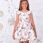 10 Yaş 2020 Kız Çocuk Abiye Elbise Modelleri Pembe Kısa Kolsuz Geniş Yaka Desenli