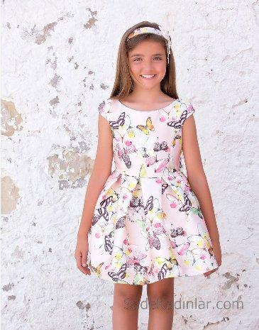 10 Yaş 2019 Kız Çocuk Abiye Elbise Modelleri Pembe Kısa Kolsuz Geniş Yaka Desenli