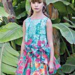 10 Yaş 2020 Kız Çocuk Abiye Elbise Modelleri Yeşil Kısa Kolsuz Çiçek Desenli