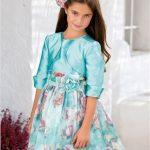 10 Yaş 2020 Kız Çocuk Abiye Elbise Modelleri Yeşil Kısa Saten Ceketli Desenli