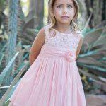 2020 Kız Çocuk Abiye Elbise Pembe Kısa Kolsuz Dantelli Etek Kısmı Tüllü