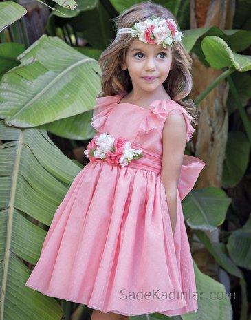 2020 Kız Çocuk Abiye Elbise Pembe Kısa Kolsuz Çiçek Kemerli Fırfır Detaylı