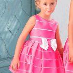 2020 Kız Çocuk Abiye Elbise Pembe Kısa Kolsuz Çizgili Kurdela Kemerli Kloş Etekli