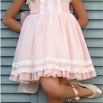 2020 Kız Çocuk Abiye Elbise Pudra Kısa Kolsuz Fisto Detaylı Fırfırlı Etekli