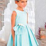 2020 Kız Çocuk Abiye Elbise Yeşil Kısa Kolsuz Desenli Kalın Pileli Etekli