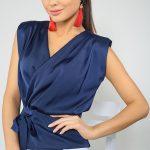 Kruvaze Bluz Modelleri Lacivert Kolsuz V Yakalı Fiyonklu