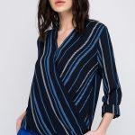 Kruvaze Bluz Modelleri Lacivert uzun Kollu V Yakalı Çizgili Desenli