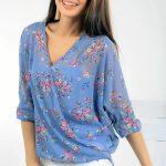 Kruvaze Bluz Modelleri Mavi Yetim Kol V Yakalı Çiçek Desenli