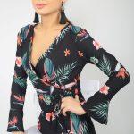 Kruvaze Bluz Modelleri Siyah Uzun Kollu V Yakalı Bağcıklı Desenli