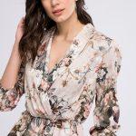 Kruvaze Bluz Modelleri Vizon Uzun Kollu Alt Kısmı Fırfır Detaylı