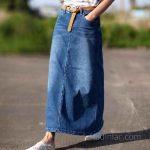 Mavi Uzun Kot Etek Modelleri Bol Kesim cep Detaylı