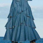 Mavi Uzun Kot Etek Modelleri Katmanlı Fırfırlı
