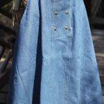 Mavi Uzun Kot Etek Modelleri Kloş Cepli Metal Düğme Aksesuarlı