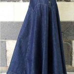 Mavi Uzun Kot Etek Modelleri Kloş Yandan Düğmeli