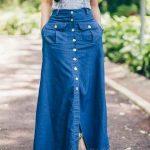 Mavi Uzun Kot Etek Modelleri Önden Düğmeli Yırtmaçlı Cepli