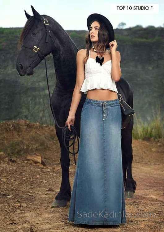 Mavi Uzun Uzun Kot Etek Modelleri Belden Lastikli ip Bağcıklı