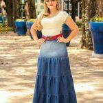 Mavi Uzun Uzun Kot Etek Modelleri Belden Oturtmalı Kalın Şeritli