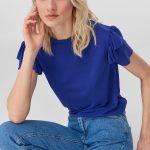 Mor Bluz Modelleri Kısa Kollu Yuvarlak Yaka Fırfırlı Kol