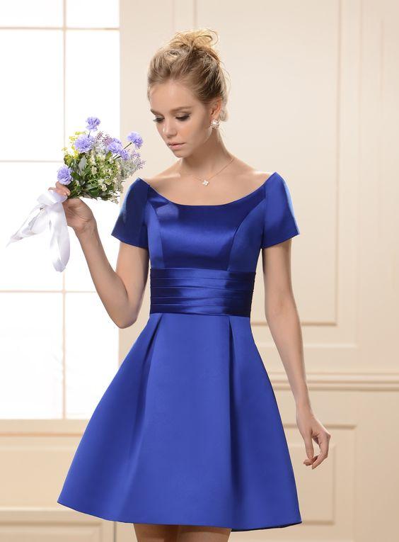 2020 Saks Mavi Elbise Modelleri Kısa Saten Geniş Yaka Kısa Kollu Sade