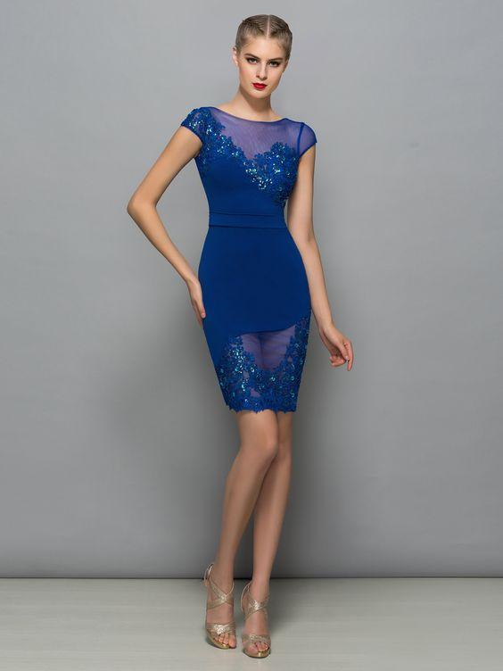 2020 Saks Mavi Elbise Modelleri Kısa Transparan Detay İşlemeli Kısa Kollu