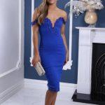2019 Saks Mavi Elbise Modelleri Midi Omzu Açık Düşük Kol Dantel Detaylı