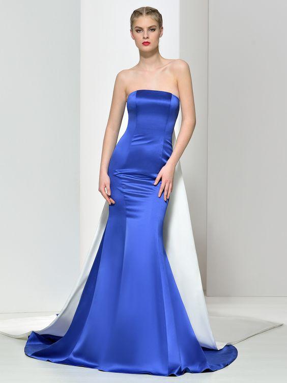 2020 Saks Mavi Elbise Modelleri Uzun Balık Straplez Kuyruklu