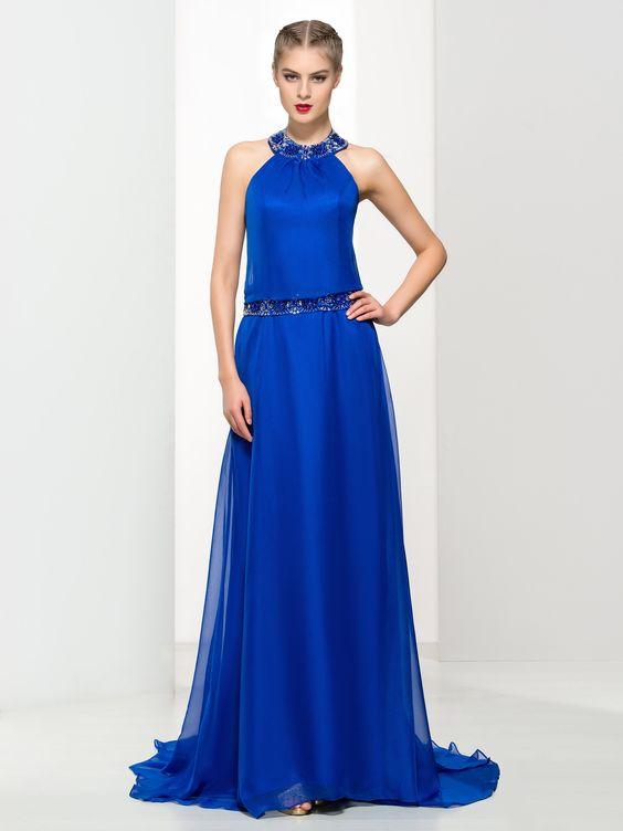 2020 Saks Mavi Elbise Modelleri Uzun Halter Yaka Boncuk işleme Detaylı