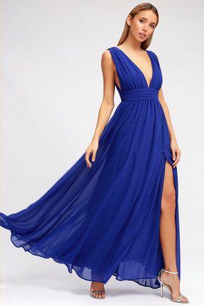2020 Saks Mavi Elbise Modelleri Uzun Kolsuz Dekolteli V Yaka Yırtmaçlı