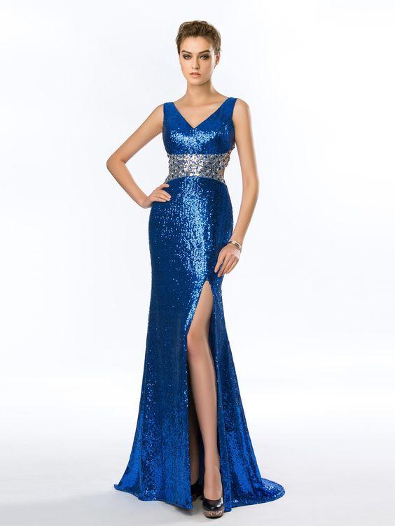 2020 Saks Mavi Elbise Modelleri Uzun Kolsuz V Yakalı Yırtmaçlı Payetli