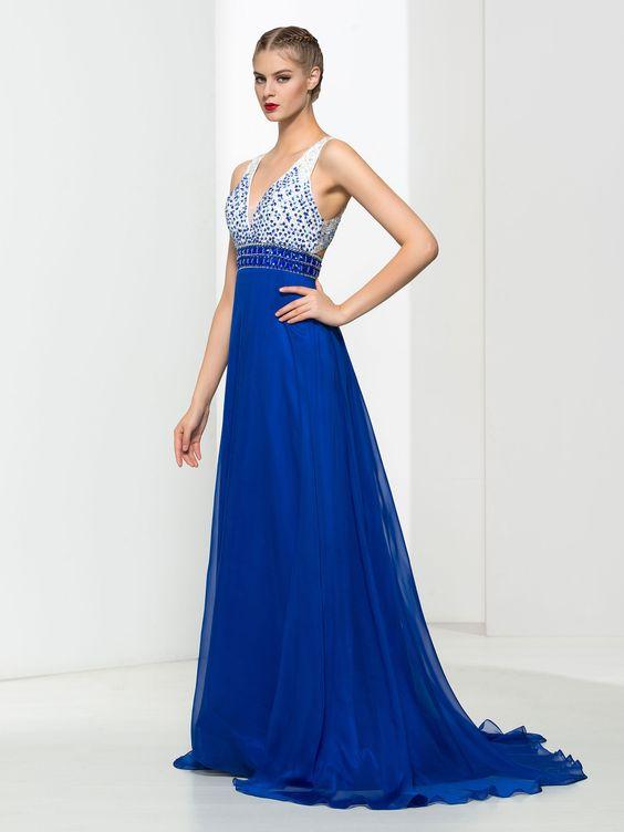2020 Saks Mavi Elbise Modelleri Uzun Kolsuz V Yakalı Üst Kısmı Beyaz İşlemeli