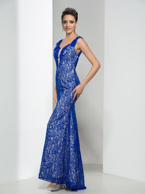 2020 Saks Mavi Elbise Modelleri uzun Kolsuz Geniş Yaka Dantel