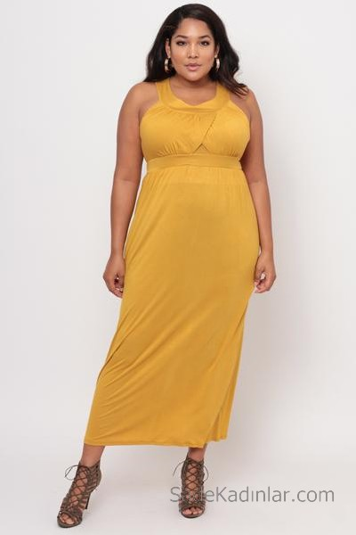 2020 Büyük Beden Abiye ve Gece Elbiseleri Sarı Uzun Boyundan Kemerli Yuvarlak Yaka