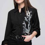Siyah Gömlek Modelleri Uzun Kollu Pul İşlemeli Düğmeli