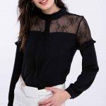 Siyah Gömlek Modelleri Uzun Kollu Transparan Yaka Güpür Dantelli