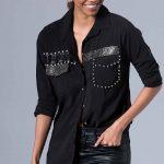 Siyah Gömlek Modelleri Uzun Kollu Ön Kısmı Taş İşlemeli