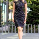 2020 Siyah Kısa Abiye Elbise Modelleri Kısa Kollu Deri Pul İşlemeli Desenli