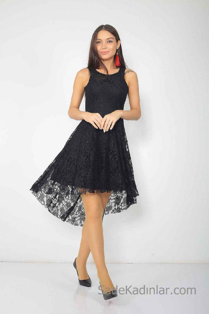 Siyah Kısa Elbise Modelleri Kolsuz Yuvarlak Yaka Ön Kısa Arka Uzun Dantel