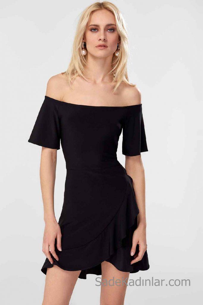 Siyah Kısa Elbise Modelleri Omzu Açık Düşük Kol Katlamalı Fırfırlı Etek