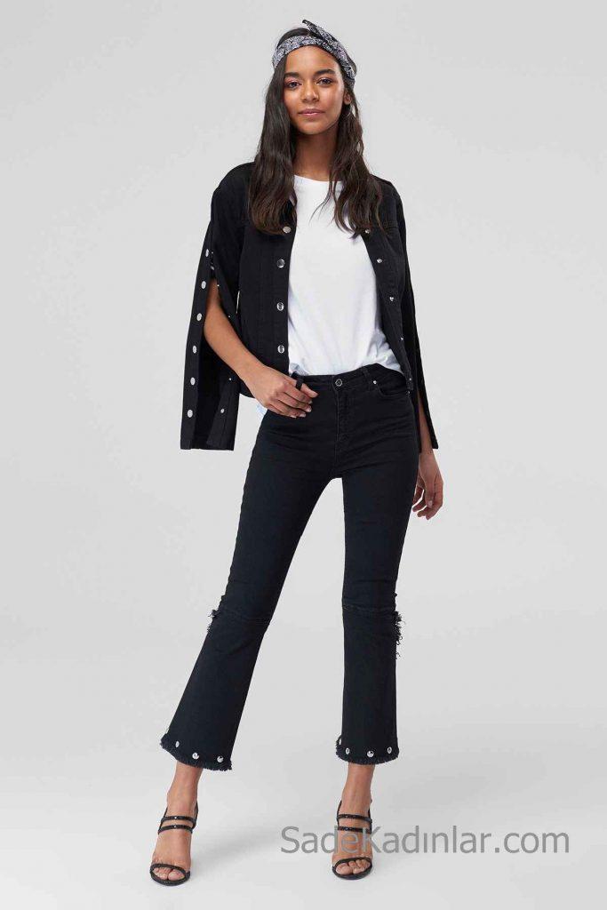 Siyah Kot Pantolon Modelleri Yüksel Bel Bol Kesim Paçası Aksesuar Detaylı