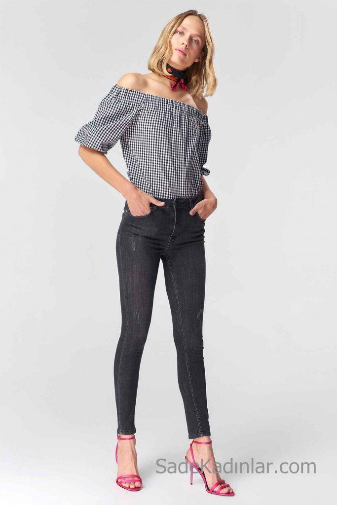 Siyah Kot Pantolon Modelleri Yüksel Bel Dar Kesim Yandan Cepli