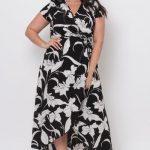 2020 Büyük Beden Abiye ve Gece Elbiseleri Siyah Uzun Kısa Kollu V Yakalı Desenli Bağcıklı