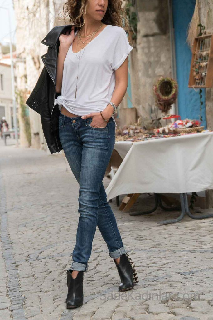 Skinny Pantolon Modelleri Lacivert Cepli Yıkamalı Paçalı Katlı