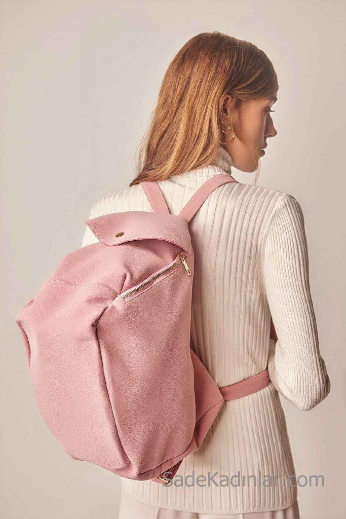Spor Sırt Çantası Bayan Modelleri Pembe Bavul tipi Fermuarlı
