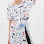 Tunik Gömlek Modelleri Beyaz Kısa Kollu Geniş Yaka Karışık Desenli
