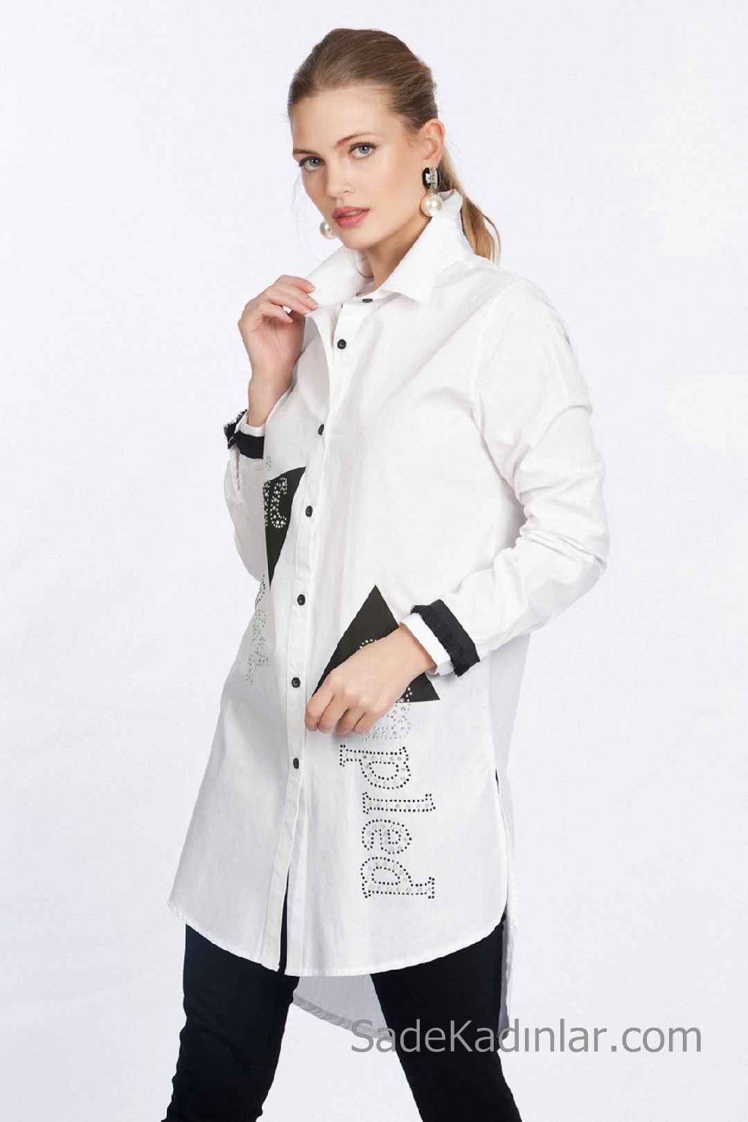 Tunik Gömlek Modelleri Beyaz Önden Düğmeli Kolları Şeritli Taş İşlemeli