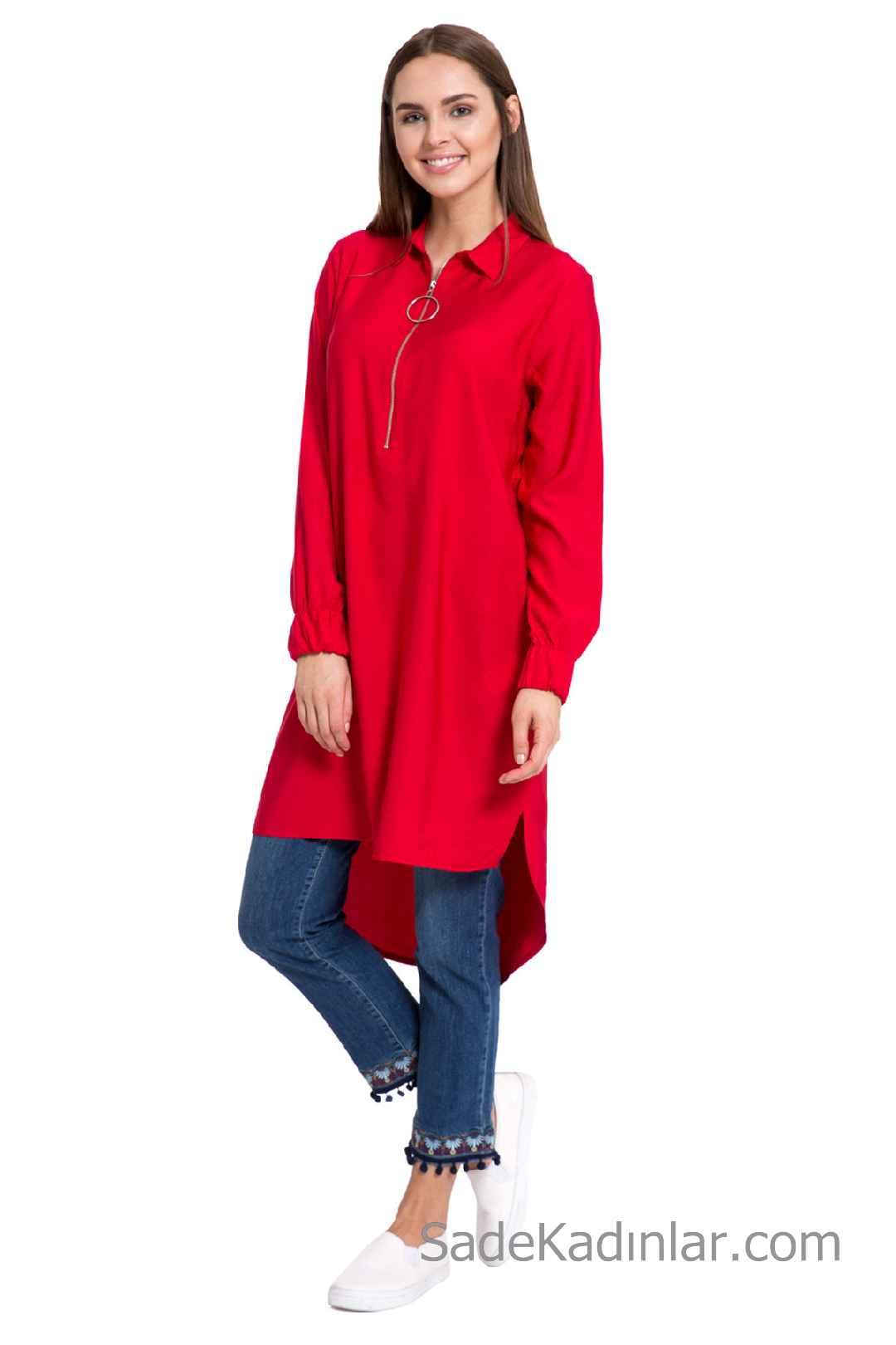 Tunik Gömlek Modelleri Kırmızı Uzun Kollu Önden Fermuarlı Ön Kısa Arka Uzun