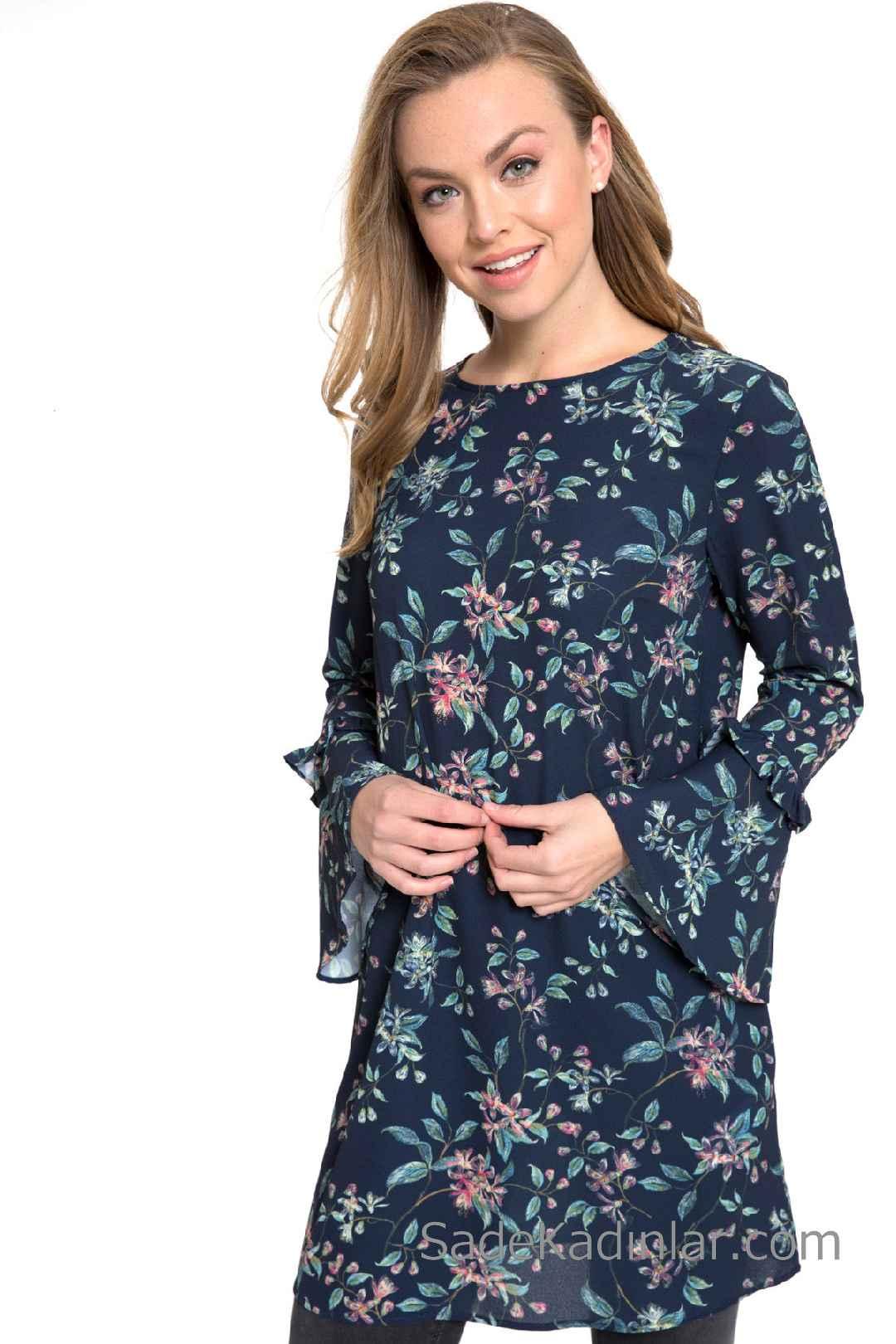 Tunik Gömlek Modelleri Lacivert İspanyol Kol Çiçek Desenli