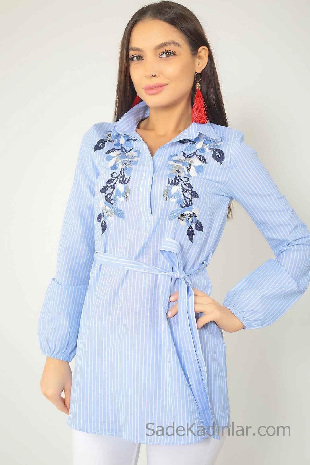 Tunik Gömlek Modelleri Mavi Belden Kumaş Kemerli Nakış İşlemeli