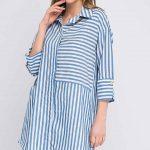 Tunik Gömlek Modelleri Mavi Uzun Kollu Çizgili Desenli